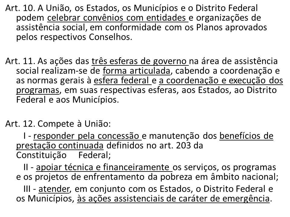 Art. 10. A União, os Estados, os Municípios e o Distrito Federal podem celebrar convênios com entidades e organizações de assistência social, em conformidade com os Planos aprovados pelos respectivos Conselhos.