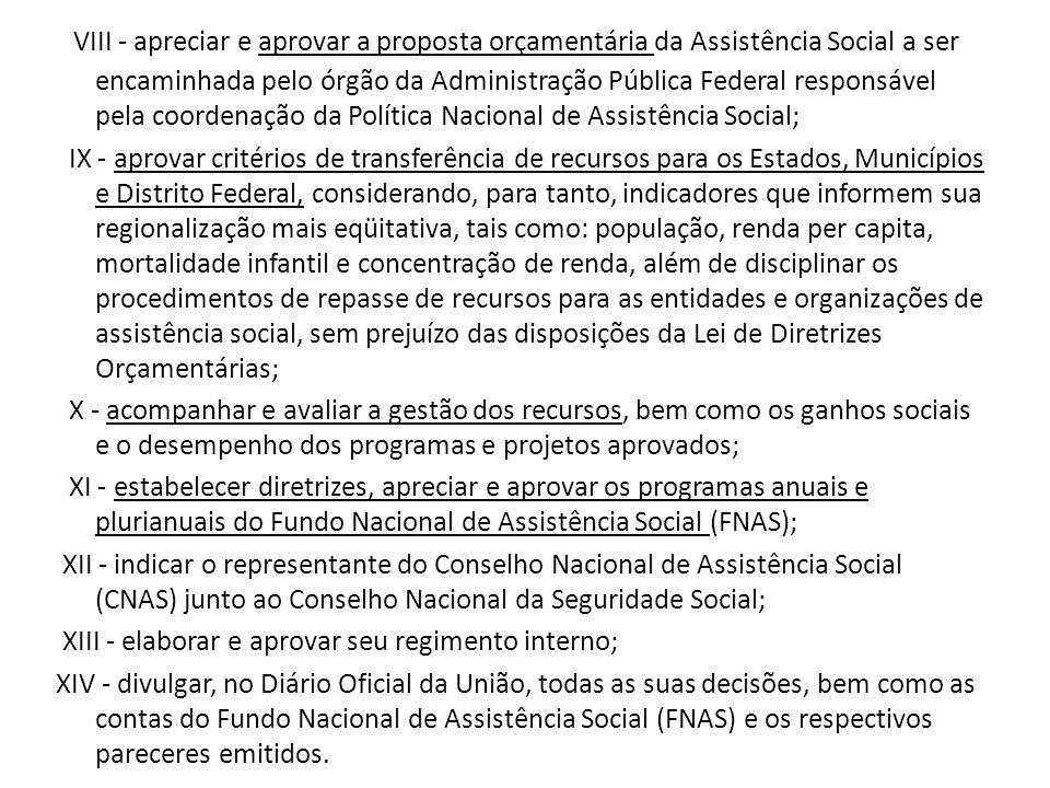 VIII - apreciar e aprovar a proposta orçamentária da Assistência Social a ser encaminhada pelo órgão da Administração Pública Federal responsável pela coordenação da Política Nacional de Assistência Social;