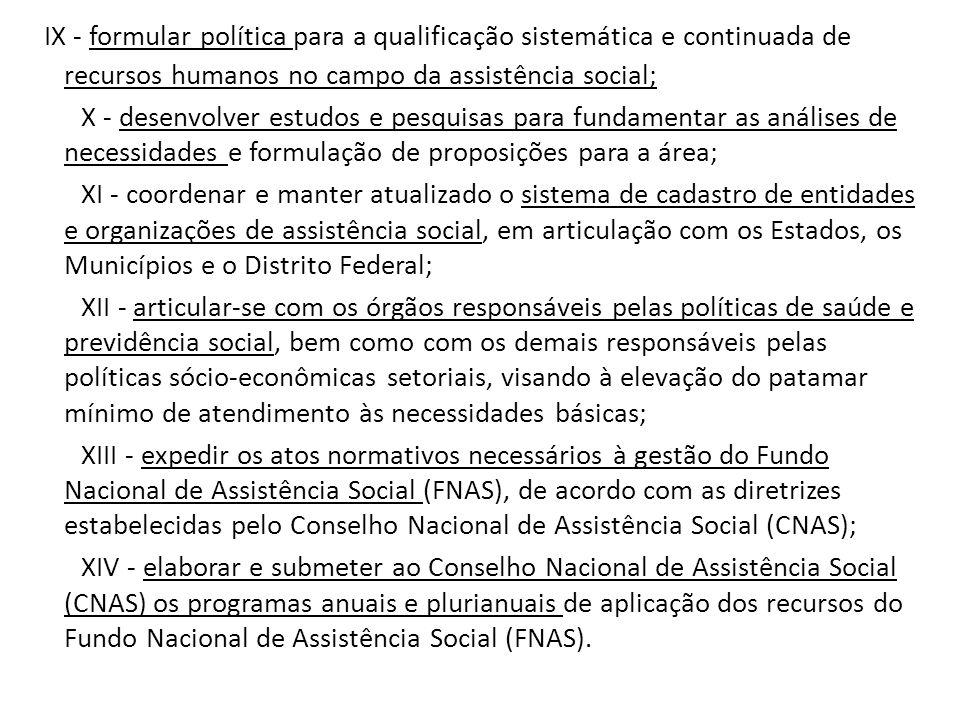 IX - formular política para a qualificação sistemática e continuada de recursos humanos no campo da assistência social;