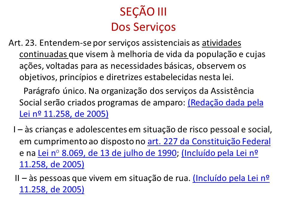 SEÇÃO III Dos Serviços
