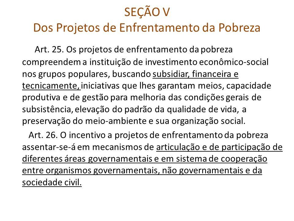 SEÇÃO V Dos Projetos de Enfrentamento da Pobreza