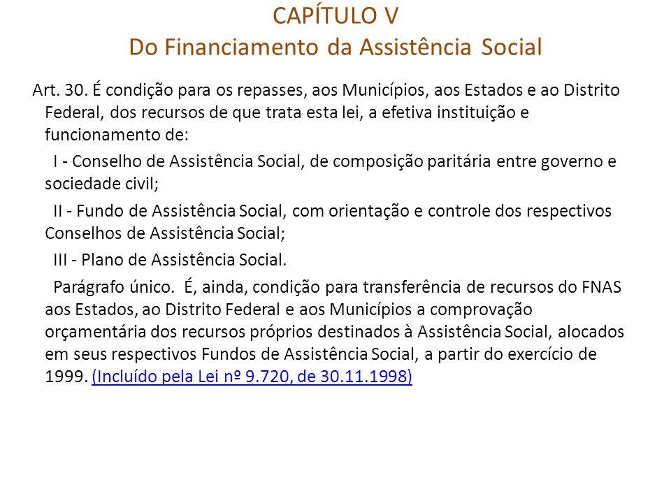 CAPÍTULO V Do Financiamento da Assistência Social