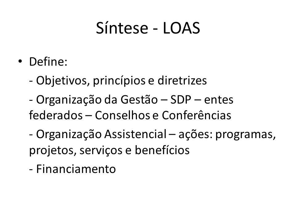 Síntese - LOAS Define: - Objetivos, princípios e diretrizes