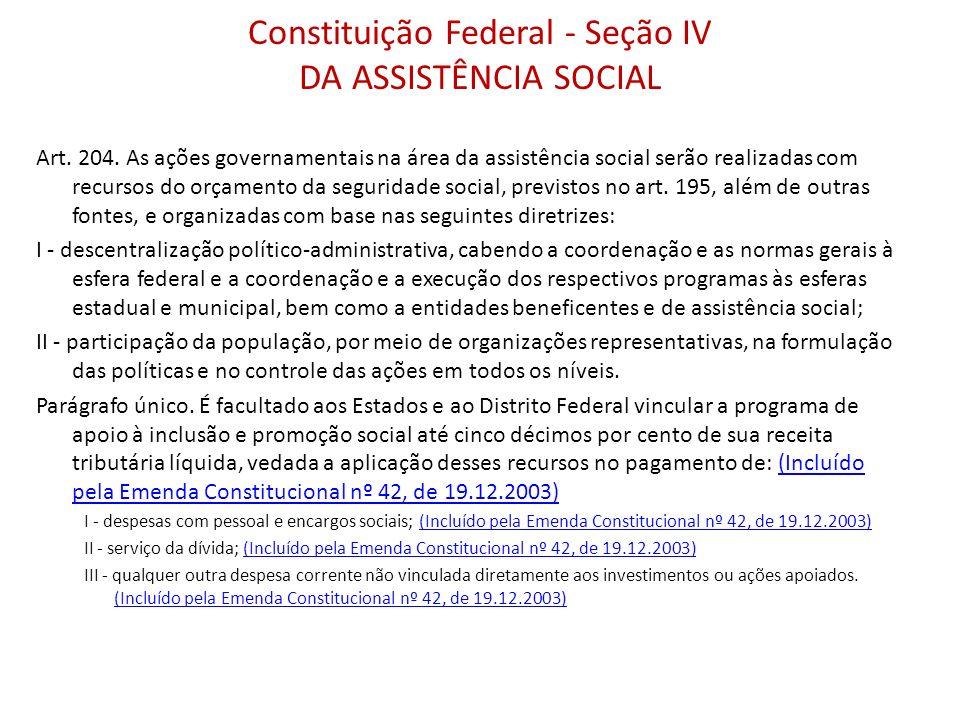 Constituição Federal - Seção IV DA ASSISTÊNCIA SOCIAL