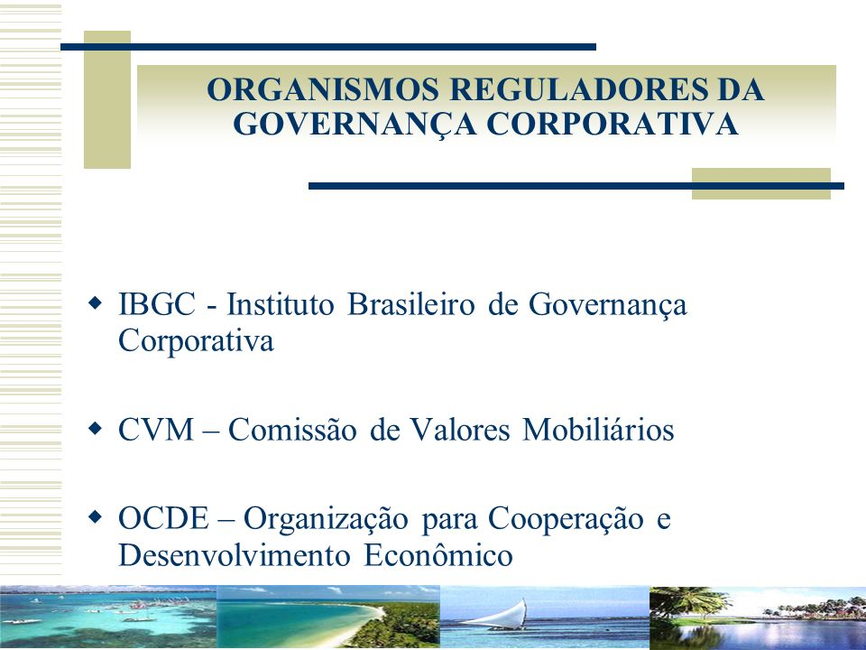ORGANISMOS REGULADORES DA GOVERNANÇA CORPORATIVA