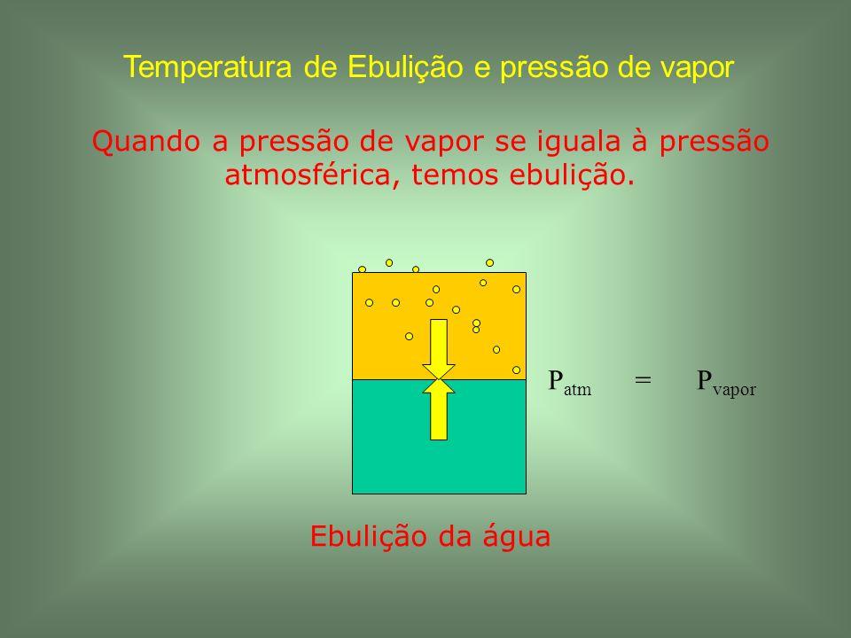 Temperatura de Ebulição e pressão de vapor