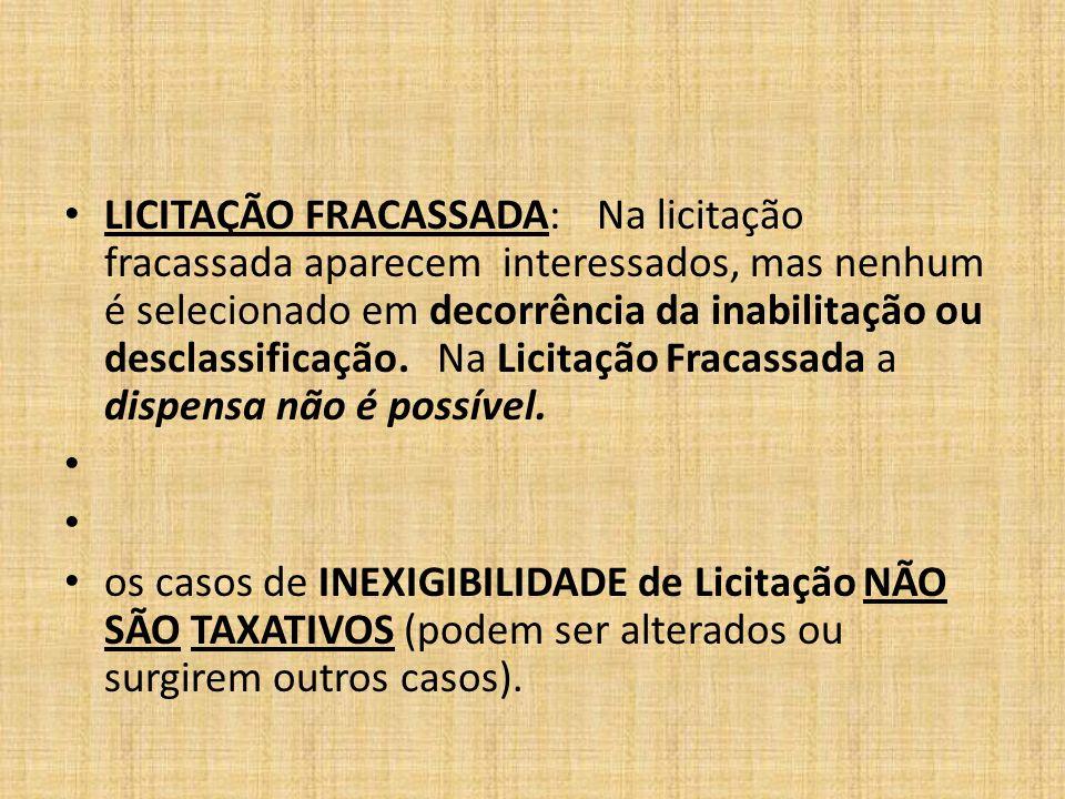 LICITAÇÃO FRACASSADA: