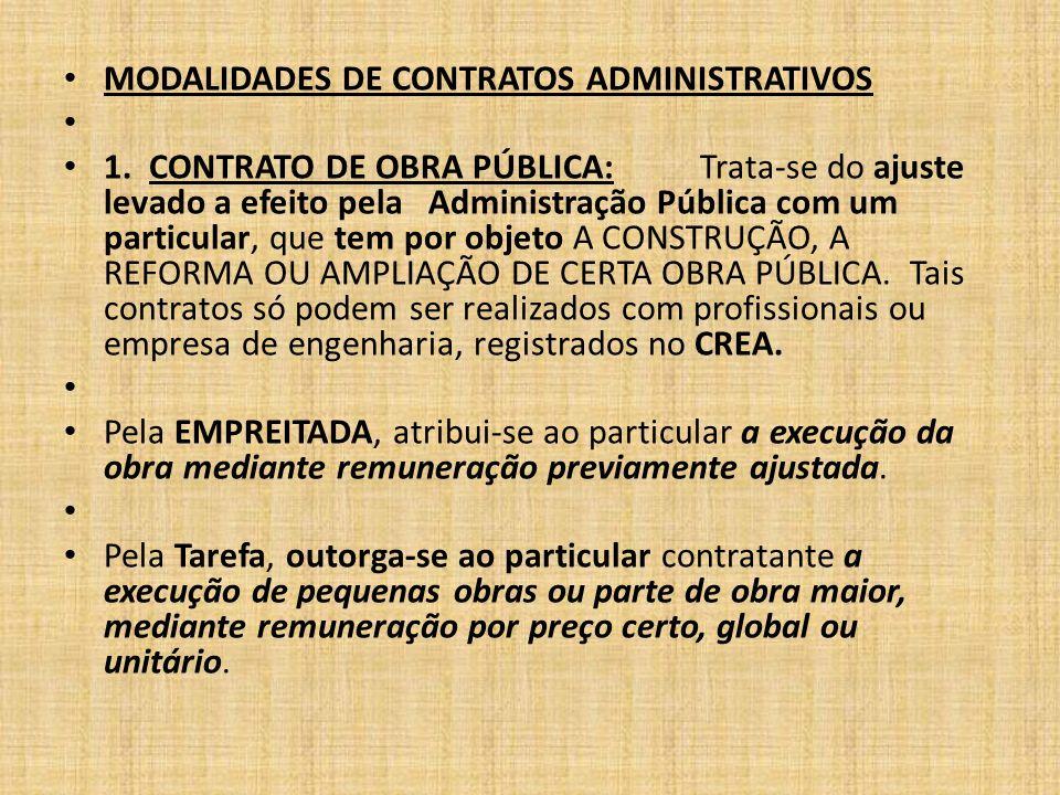 MODALIDADES DE CONTRATOS ADMINISTRATIVOS