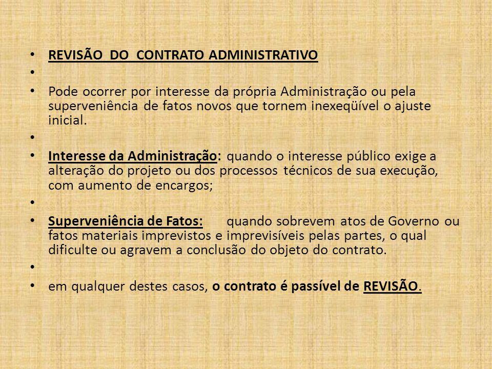 REVISÃO DO CONTRATO ADMINISTRATIVO