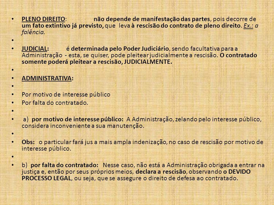 PLENO DIREITO: não depende de manifestação das partes, pois decorre de um fato extintivo já previsto, que leva à rescisão do contrato de pleno direito. Ex.: a falência.