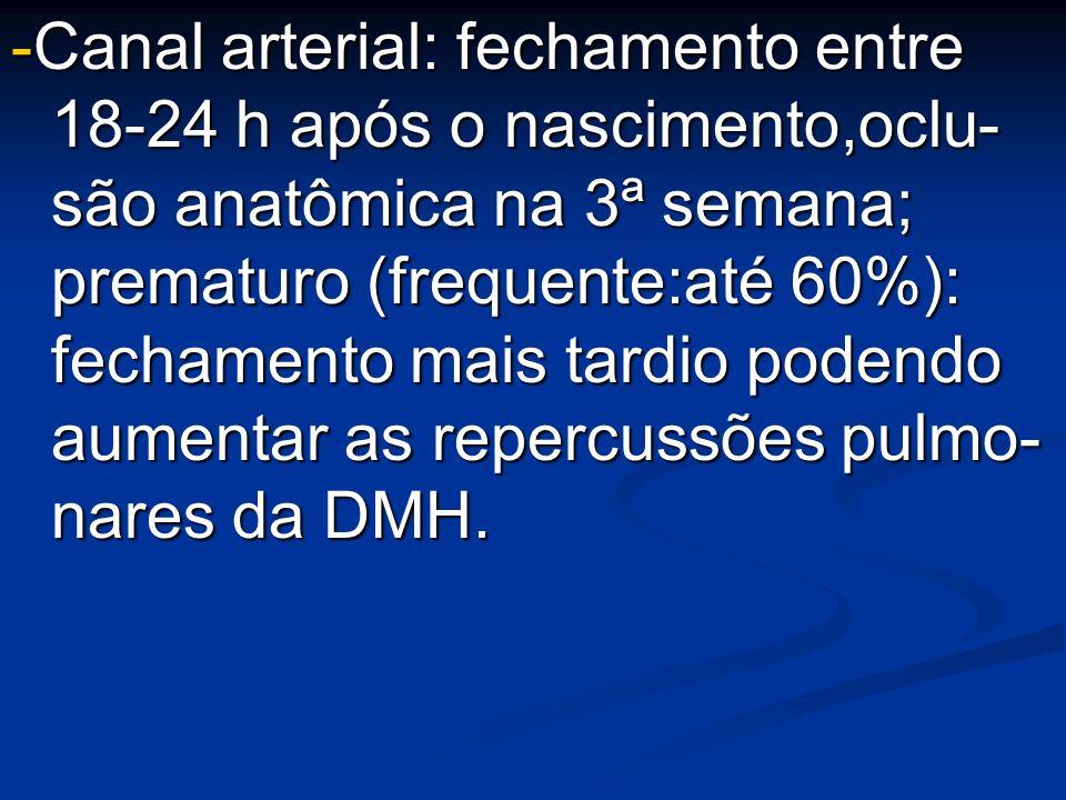 -Canal arterial: fechamento entre 18-24 h após o nascimento,oclu- são anatômica na 3ª semana; prematuro (frequente:até 60%): fechamento mais tardio podendo aumentar as repercussões pulmo- nares da DMH.