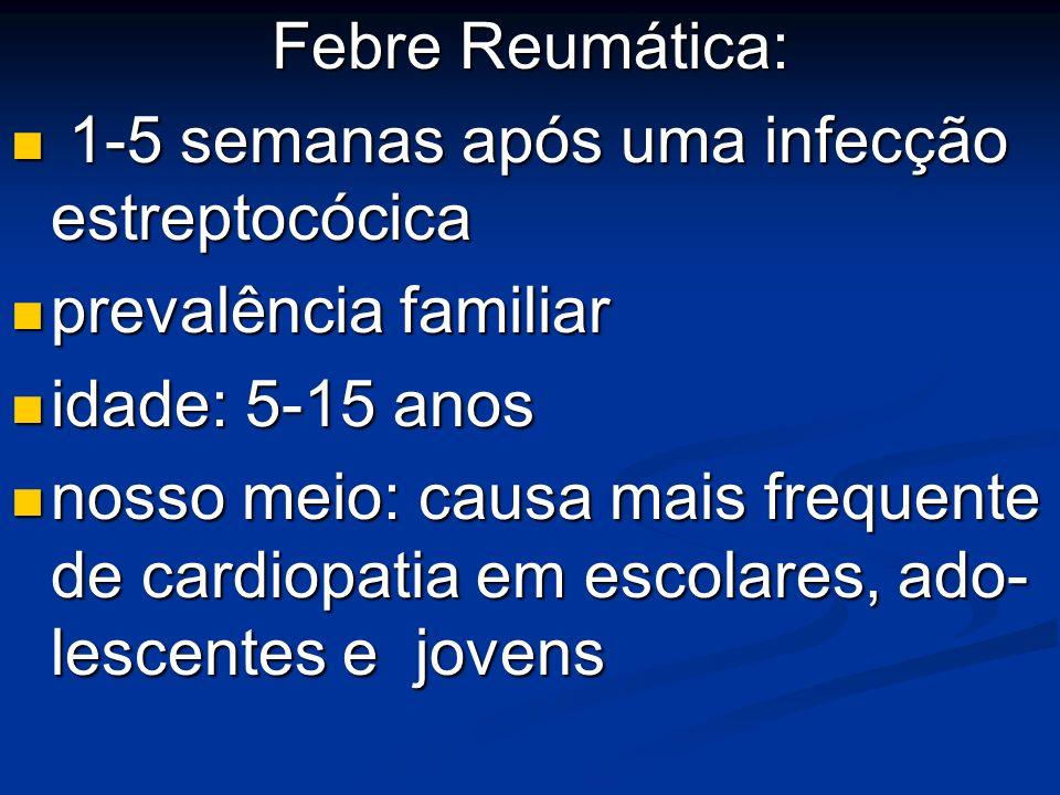 Febre Reumática: 1-5 semanas após uma infecção estreptocócica. prevalência familiar. idade: 5-15 anos.