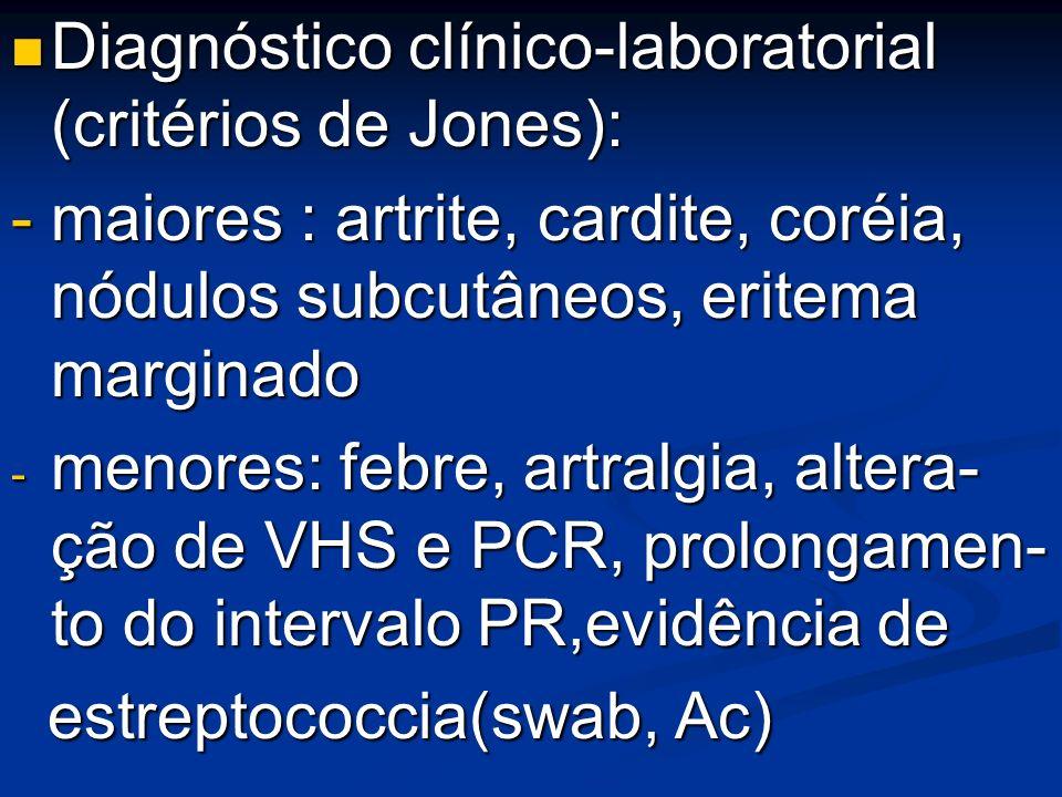 Diagnóstico clínico-laboratorial (critérios de Jones):