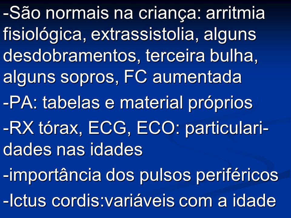 -São normais na criança: arritmia fisiológica, extrassistolia, alguns desdobramentos, terceira bulha, alguns sopros, FC aumentada