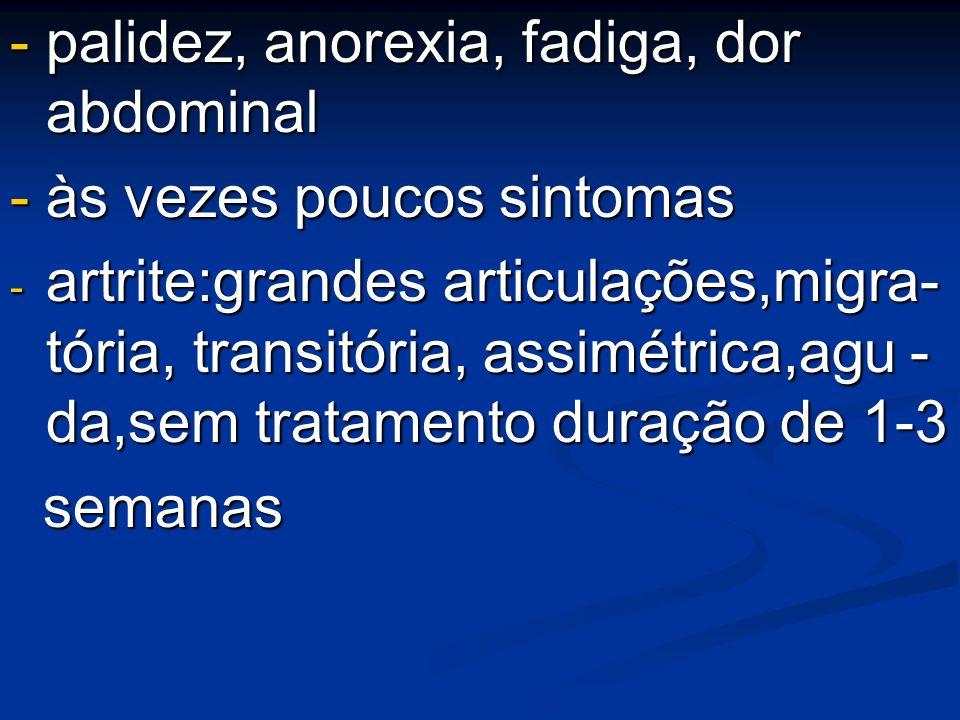 - palidez, anorexia, fadiga, dor abdominal