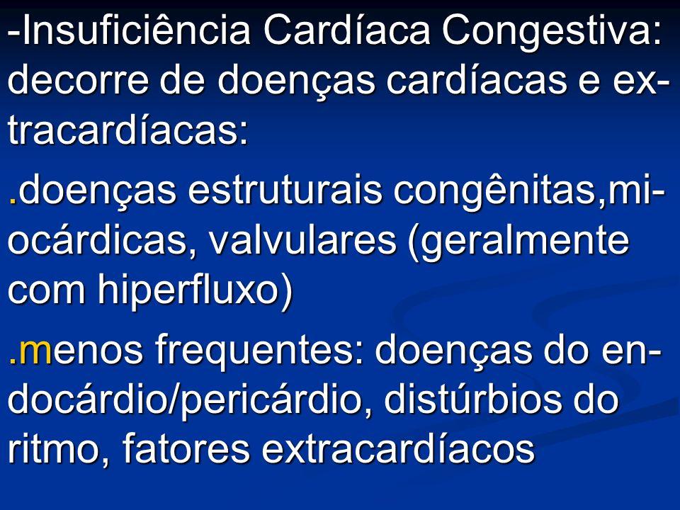 -Insuficiência Cardíaca Congestiva: decorre de doenças cardíacas e ex- tracardíacas: