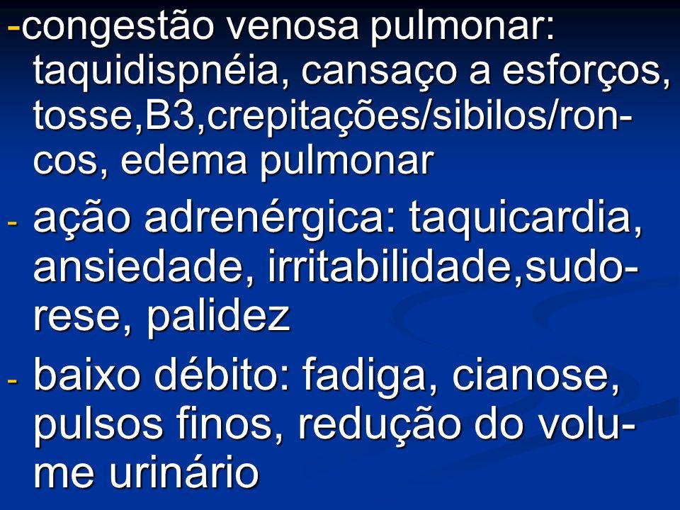 -congestão venosa pulmonar: taquidispnéia, cansaço a esforços, tosse,B3,crepitações/sibilos/ron- cos, edema pulmonar