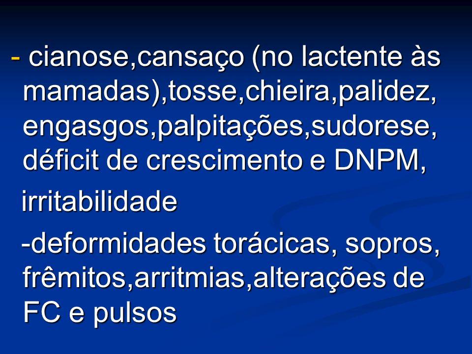 - cianose,cansaço (no lactente às mamadas),tosse,chieira,palidez, engasgos,palpitações,sudorese, déficit de crescimento e DNPM,