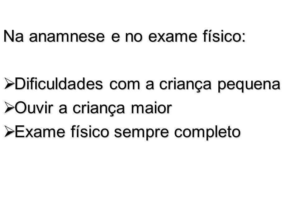 Na anamnese e no exame físico: