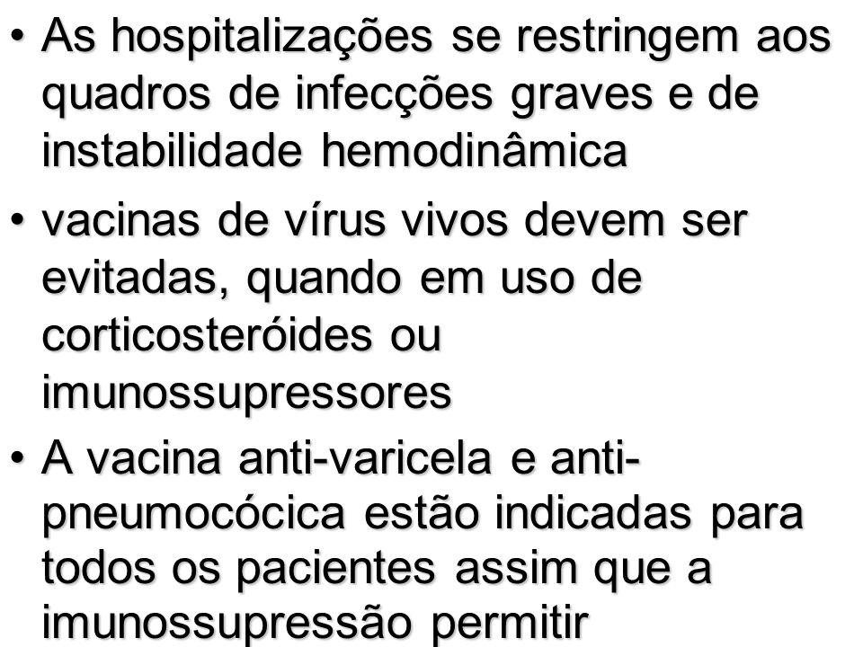 As hospitalizações se restringem aos quadros de infecções graves e de instabilidade hemodinâmica