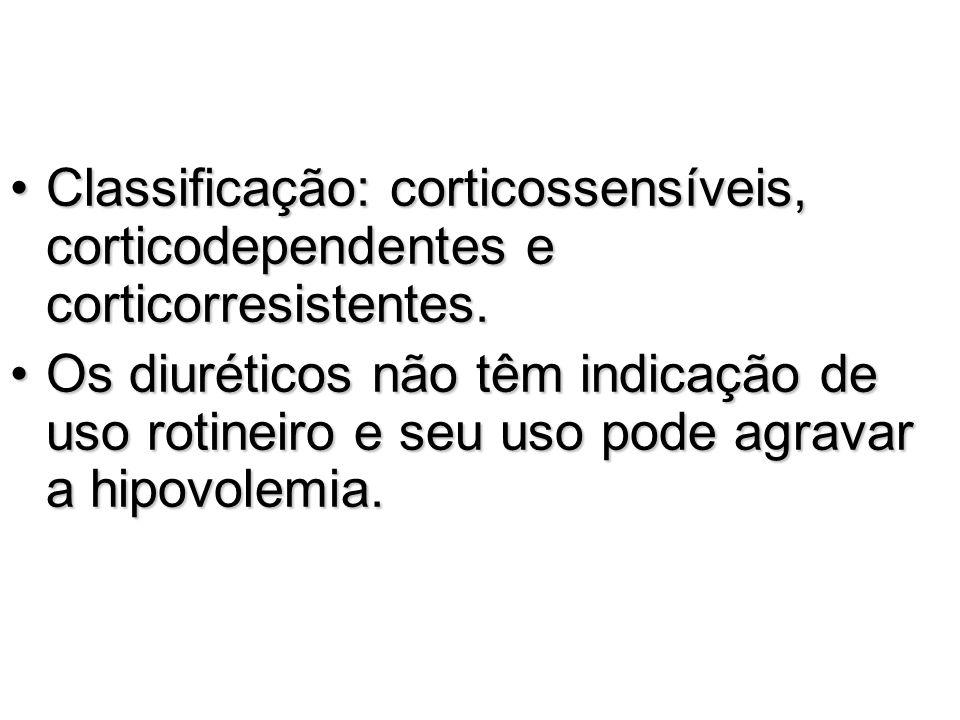 Classificação: corticossensíveis, corticodependentes e corticorresistentes.