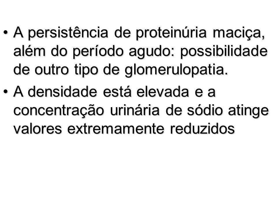 A persistência de proteinúria maciça, além do período agudo: possibilidade de outro tipo de glomerulopatia.