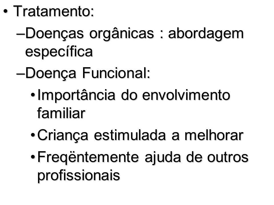 Tratamento: Doenças orgânicas : abordagem específica. Doença Funcional: Importância do envolvimento familiar.