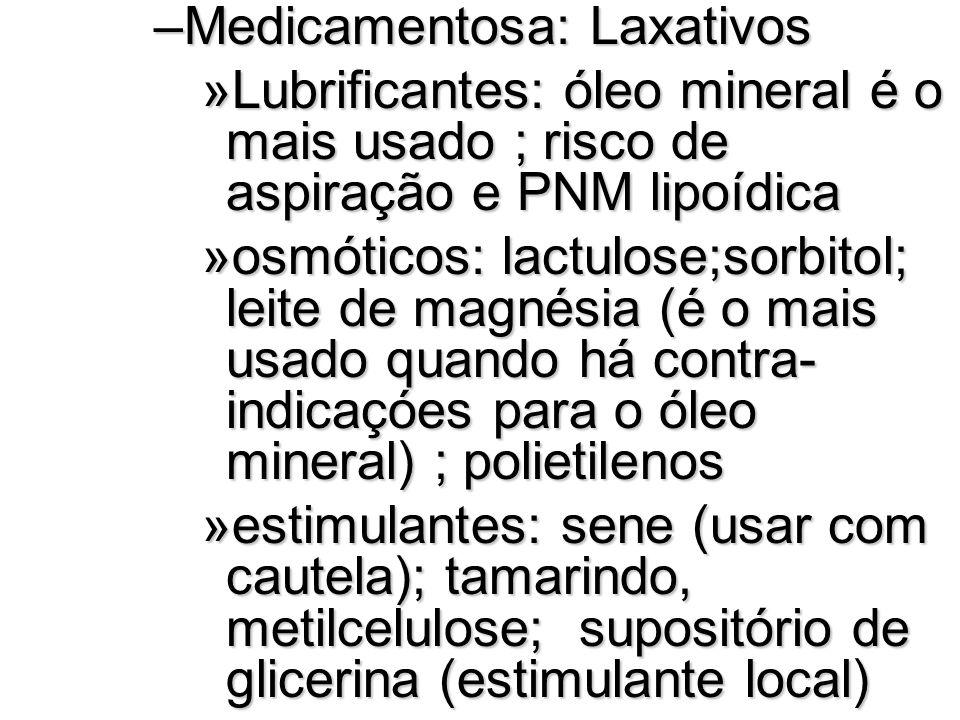 Medicamentosa: Laxativos