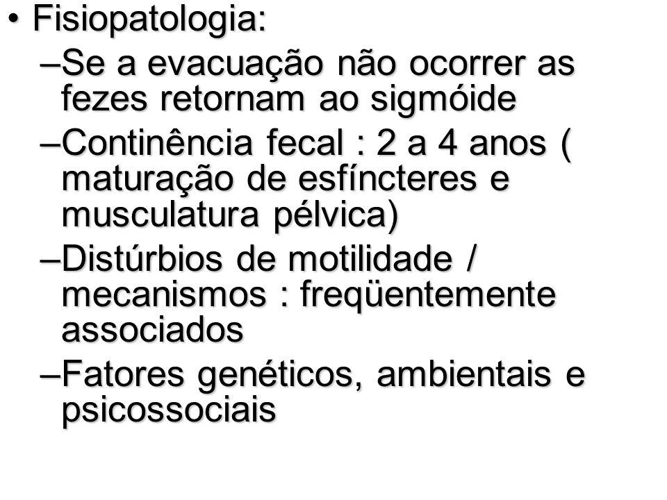 Fisiopatologia: Se a evacuação não ocorrer as fezes retornam ao sigmóide.