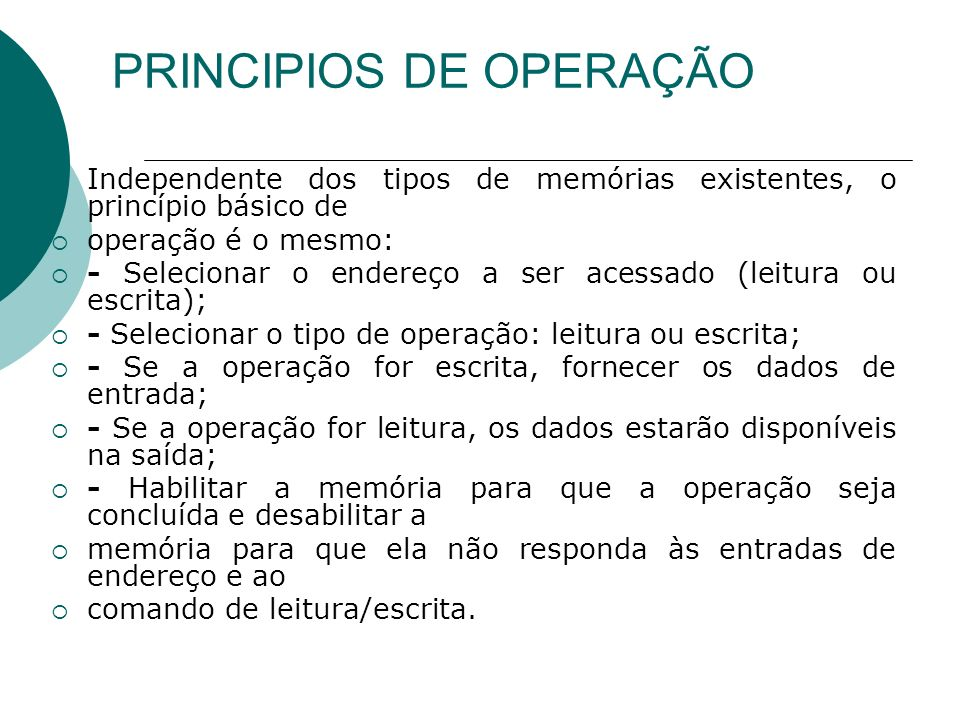 PRINCIPIOS DE OPERAÇÃO
