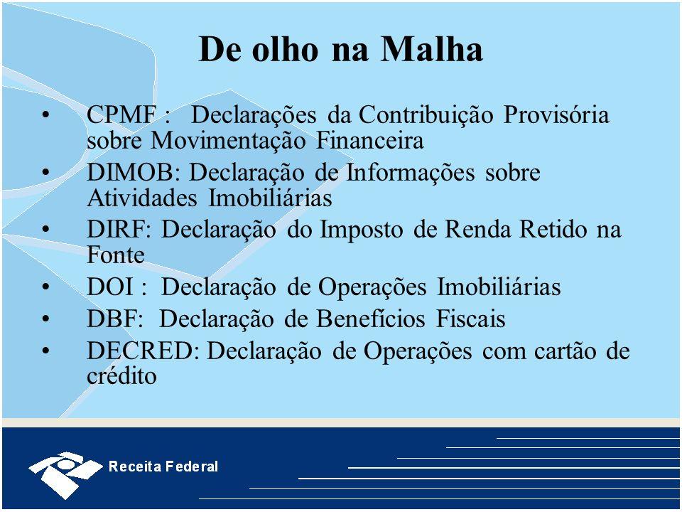 De olho na MalhaCPMF : Declarações da Contribuição Provisória sobre Movimentação Financeira.