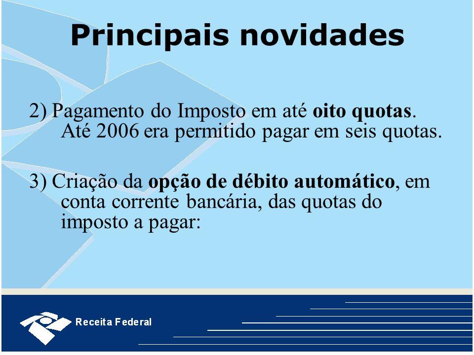 Principais novidades 2) Pagamento do Imposto em até oito quotas. Até 2006 era permitido pagar em seis quotas.