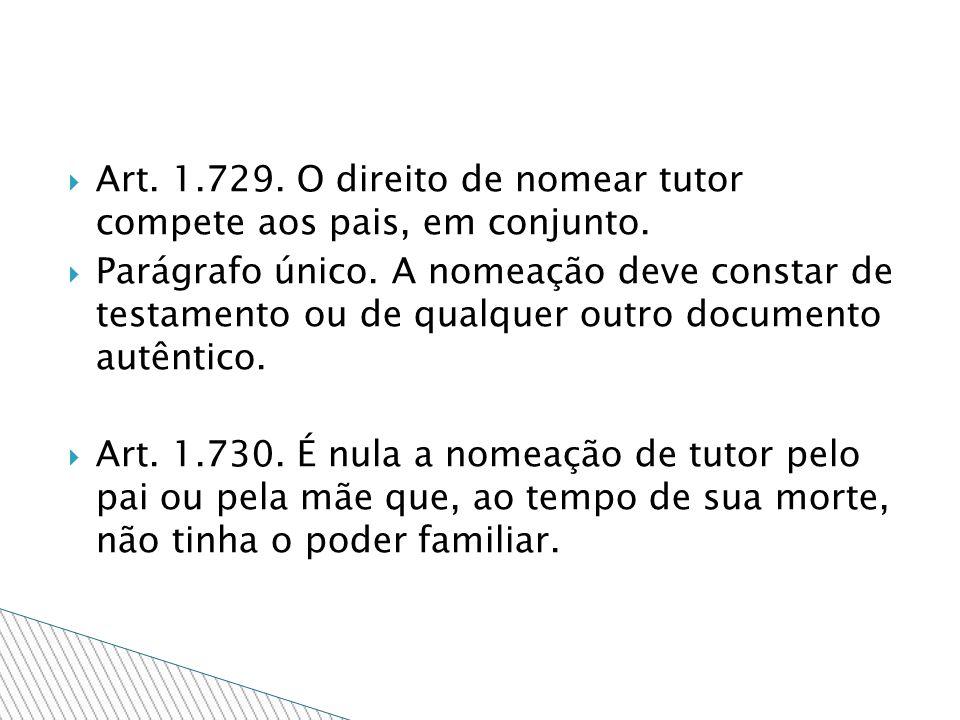 Art. 1.729. O direito de nomear tutor compete aos pais, em conjunto.