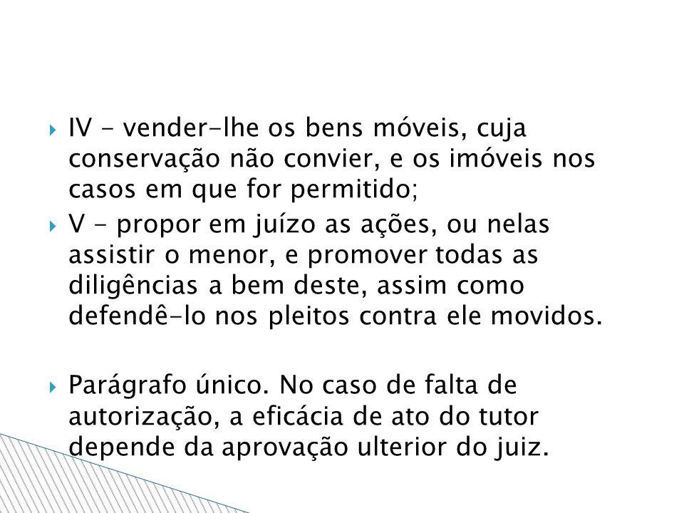 IV - vender-lhe os bens móveis, cuja conservação não convier, e os imóveis nos casos em que for permitido;