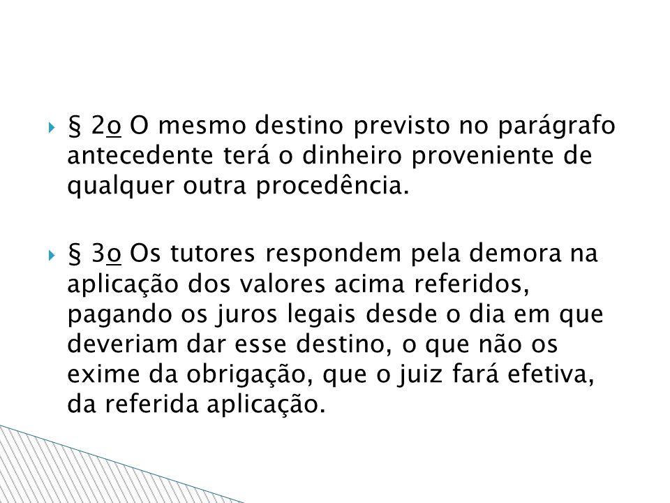 § 2o O mesmo destino previsto no parágrafo antecedente terá o dinheiro proveniente de qualquer outra procedência.