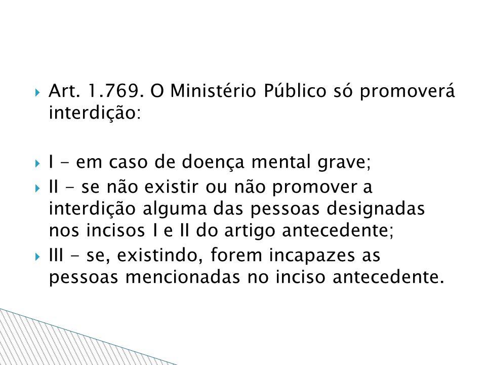 Art. 1.769. O Ministério Público só promoverá interdição:
