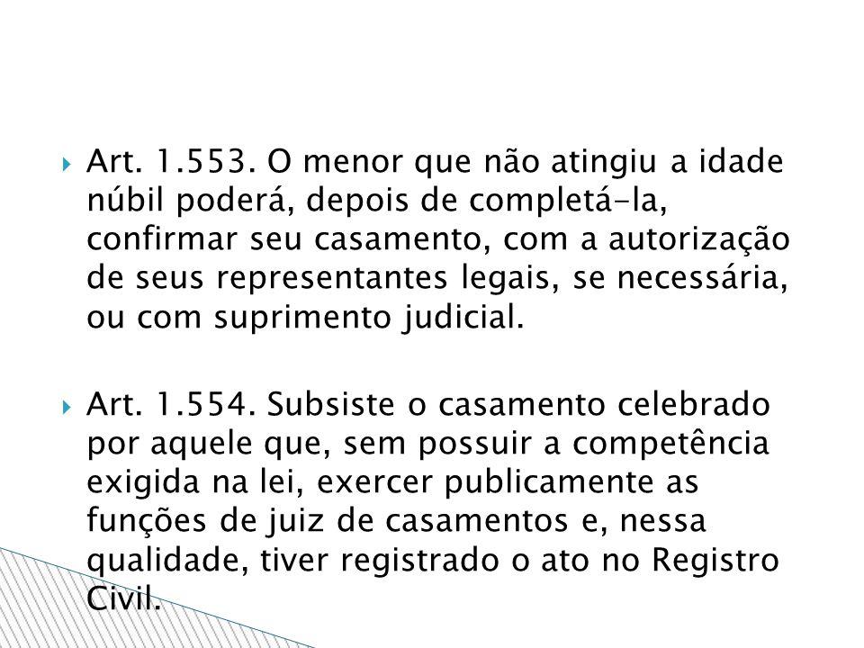 Art. 1.553. O menor que não atingiu a idade núbil poderá, depois de completá-la, confirmar seu casamento, com a autorização de seus representantes legais, se necessária, ou com suprimento judicial.