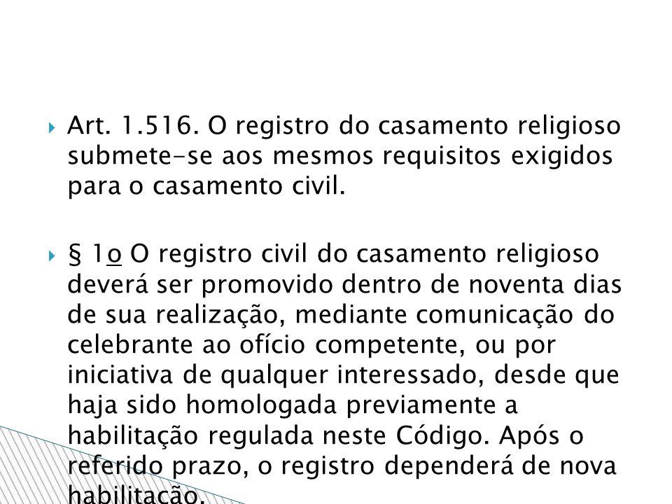 Art. 1.516. O registro do casamento religioso submete-se aos mesmos requisitos exigidos para o casamento civil.