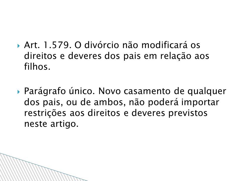 Art. 1.579. O divórcio não modificará os direitos e deveres dos pais em relação aos filhos.