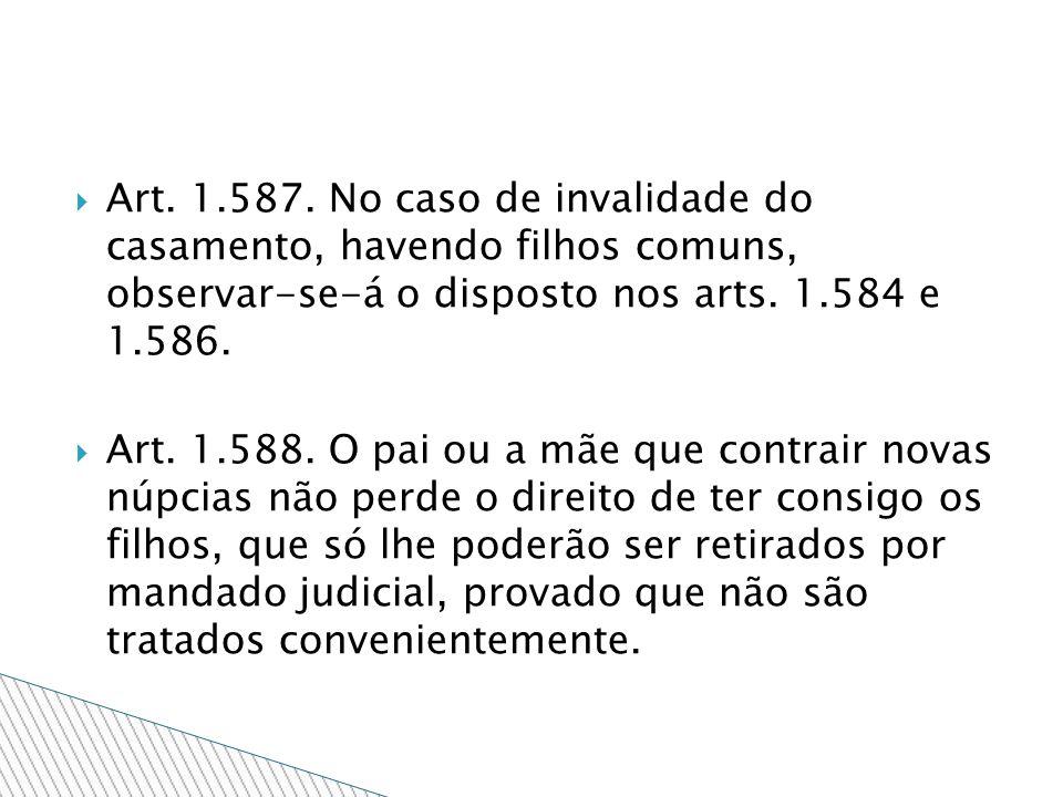 Art. 1.587. No caso de invalidade do casamento, havendo filhos comuns, observar-se-á o disposto nos arts. 1.584 e 1.586.