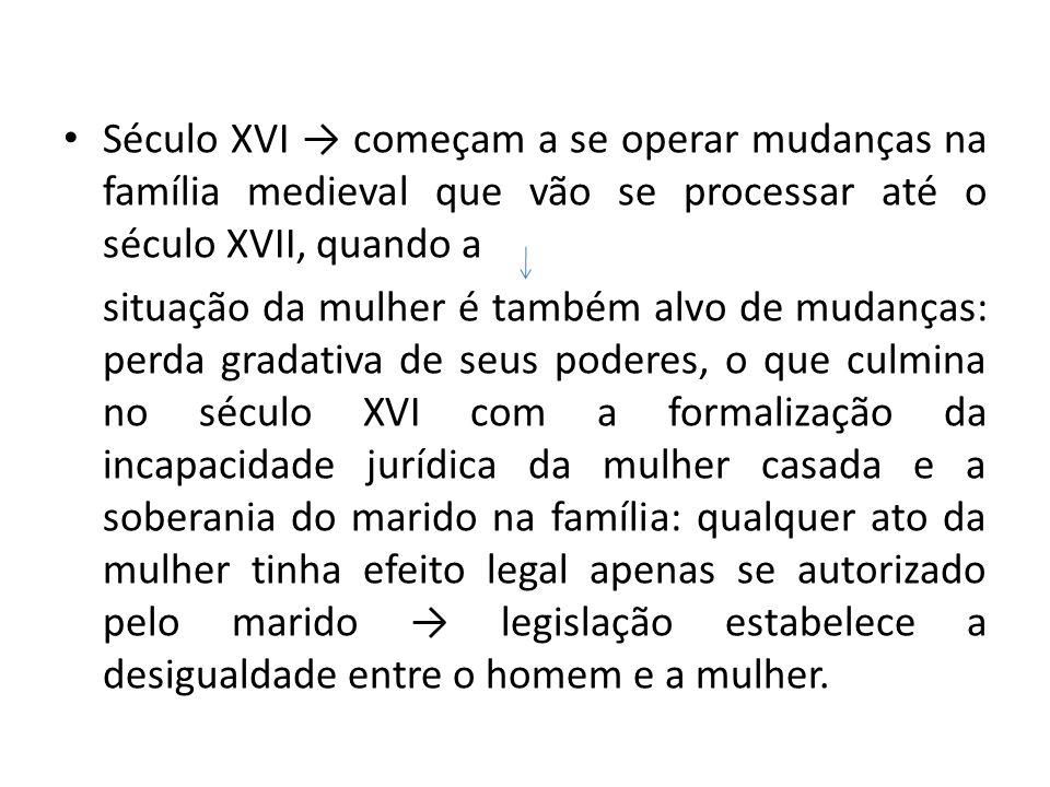 Século XVI → começam a se operar mudanças na família medieval que vão se processar até o século XVII, quando a