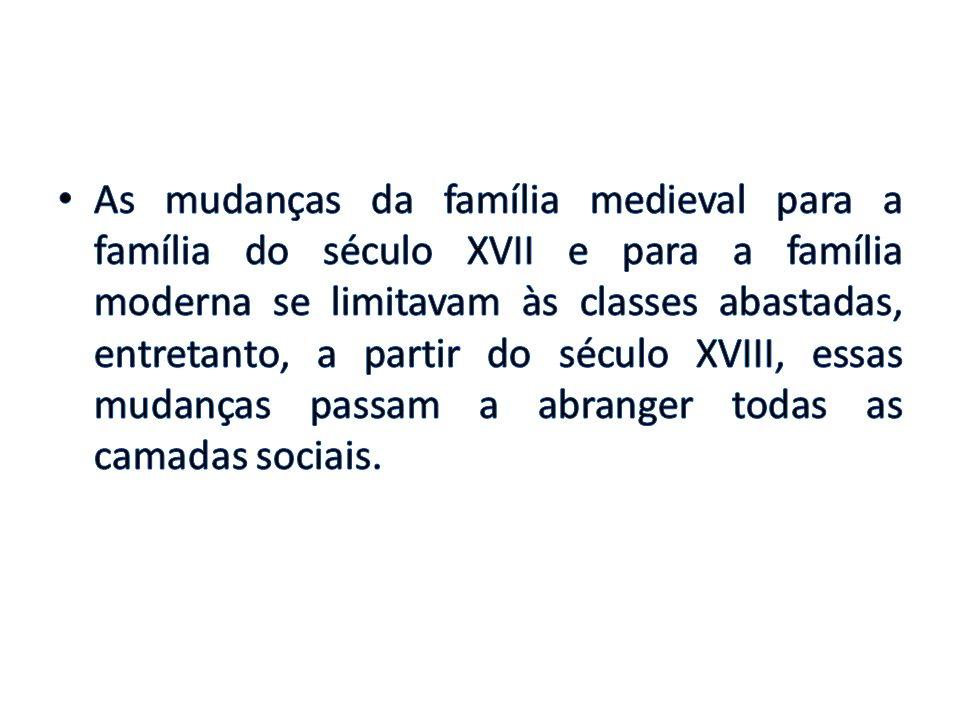 As mudanças da família medieval para a família do século XVII e para a família moderna se limitavam às classes abastadas, entretanto, a partir do século XVIII, essas mudanças passam a abranger todas as camadas sociais.