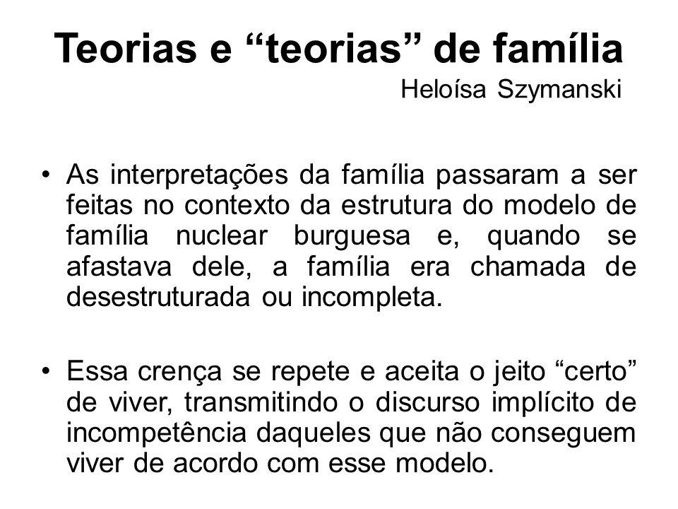 Teorias e teorias de família Heloísa Szymanski