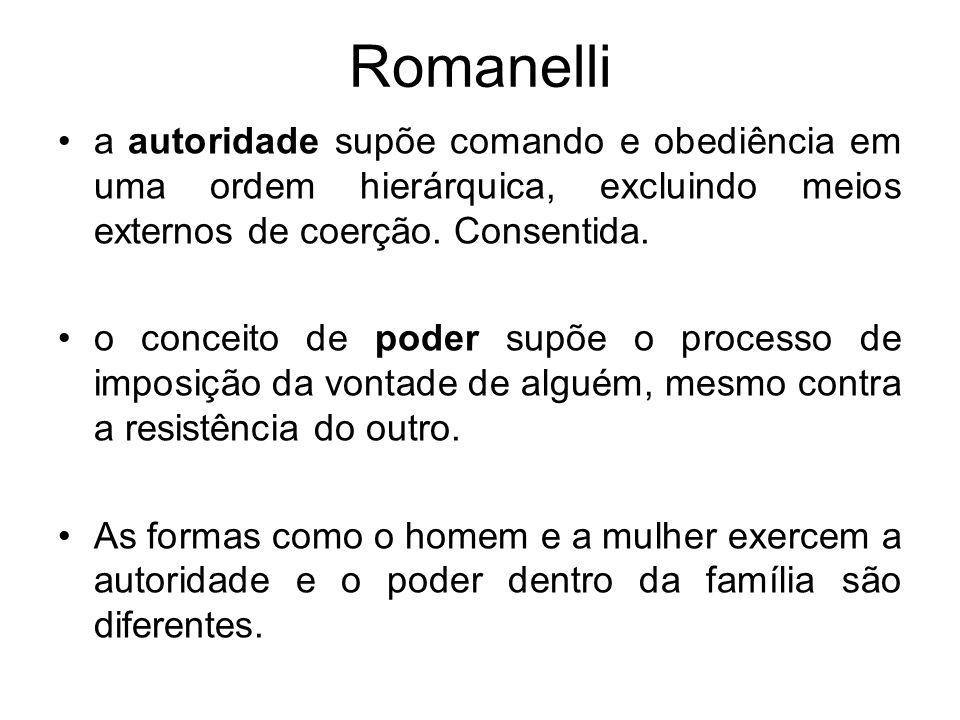 Romanelli a autoridade supõe comando e obediência em uma ordem hierárquica, excluindo meios externos de coerção. Consentida.