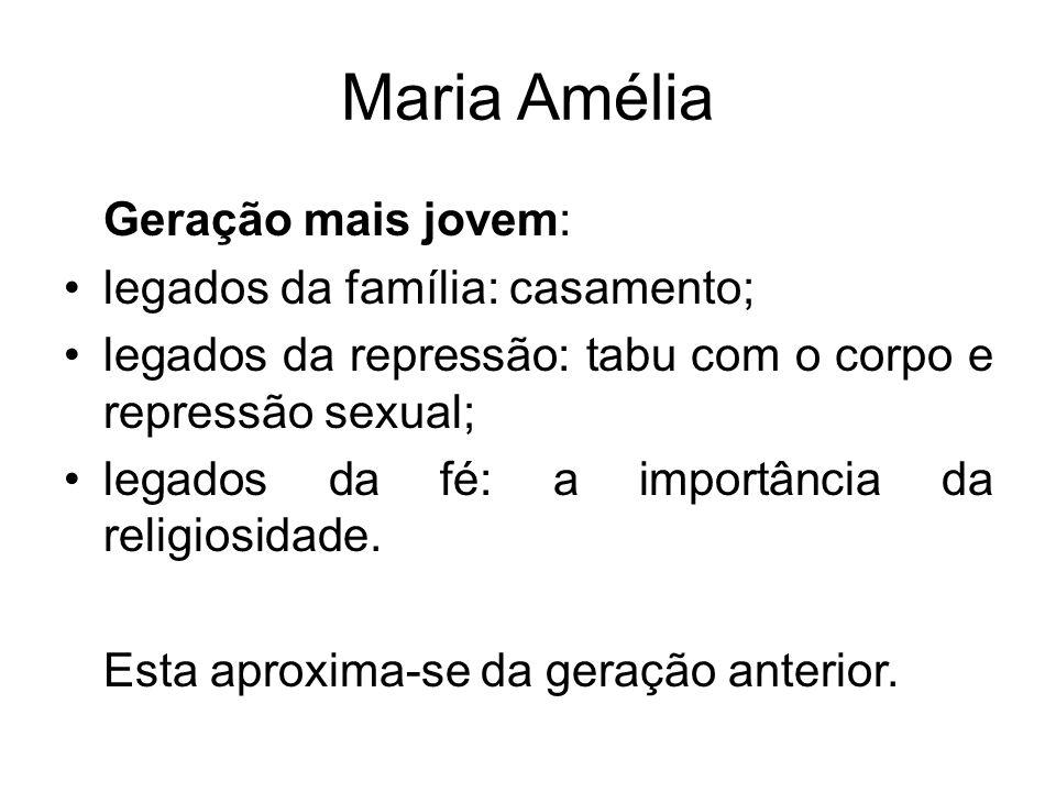 Maria Amélia Geração mais jovem: legados da família: casamento;
