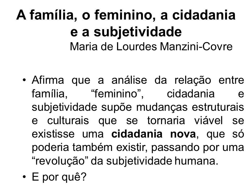 A família, o feminino, a cidadania e a subjetividade