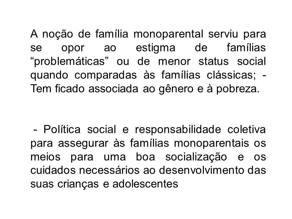 A noção de família monoparental serviu para se opor ao estigma de famílias problemáticas ou de menor status social quando comparadas às famílias clássicas; - Tem ficado associada ao gênero e à pobreza.