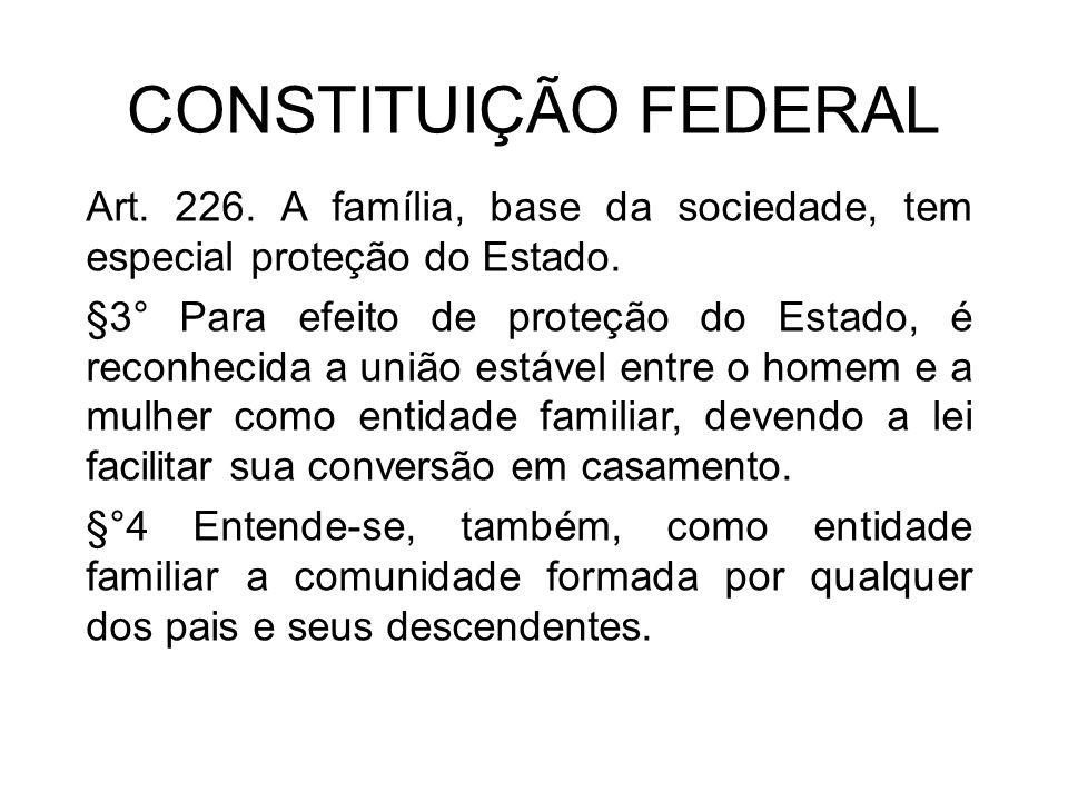 CONSTITUIÇÃO FEDERAL Art. 226. A família, base da sociedade, tem especial proteção do Estado.