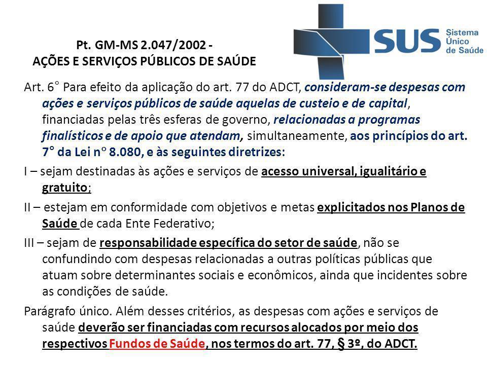 Pt. GM-MS 2.047/2002 - AÇÕES E SERVIÇOS PÚBLICOS DE SAÚDE