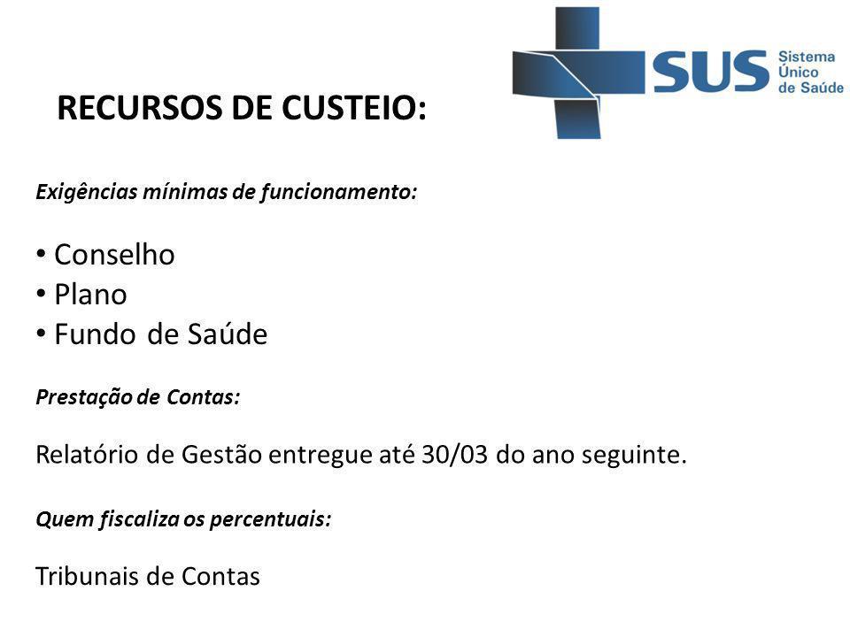 RECURSOS DE CUSTEIO: Conselho Plano Fundo de Saúde